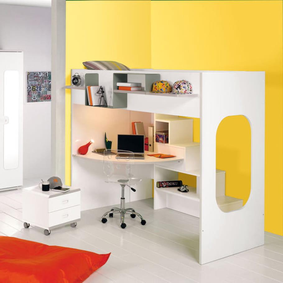 lit haut avec bureau be pop de gautier. Black Bedroom Furniture Sets. Home Design Ideas