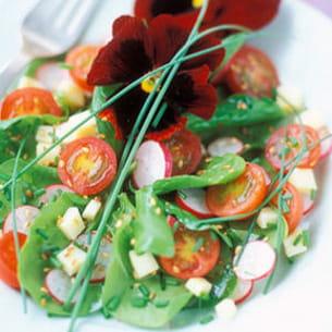 pousses d'épinards aux légumes confits
