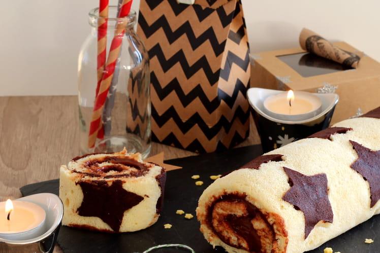 Gâteau roulé étoilé au chocolat de Noël