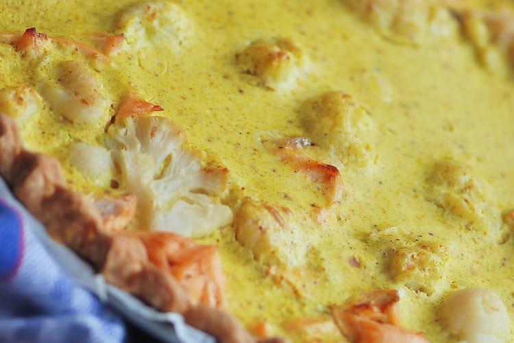 Tarte au saumon et choux-fleurs à l'indienne