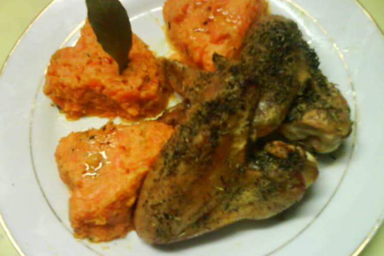 Ailes de poulet grillées et purée de carottes au cumin