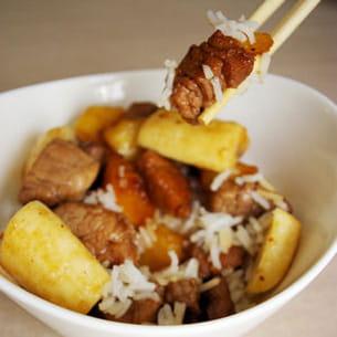 filet mignon de porc au miel pommes et bananes