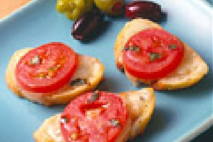 Baguettes de tomates au fromage