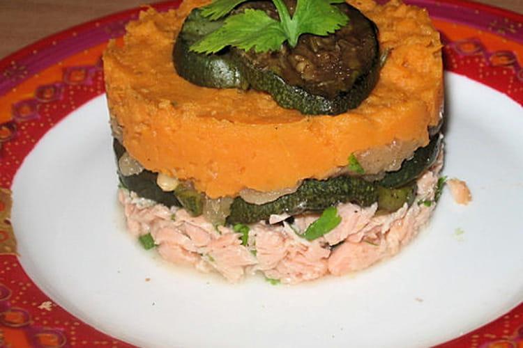 Mille-feuille de saumon, courgette et patate douce