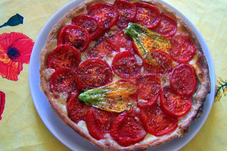 Tarte au thon, mozzarella et tomates