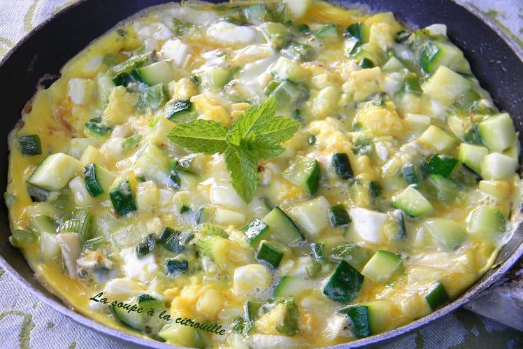 Omelette aux courgettes au Chavignol et à la menthe