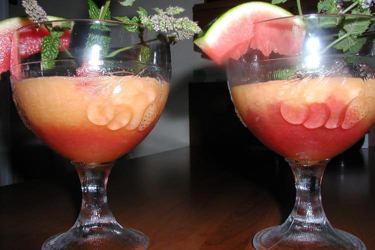Soupe marbrée melon-pastèque