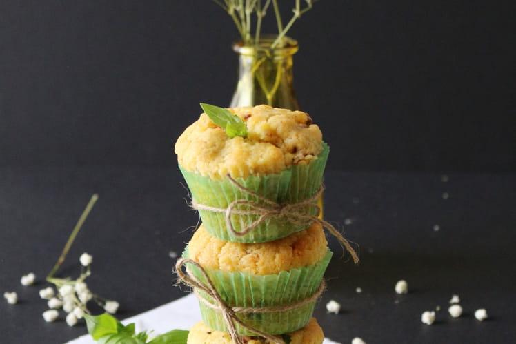 Muffins moelleux au Grogonzola mascarpone jambon cru et tomates basilic
