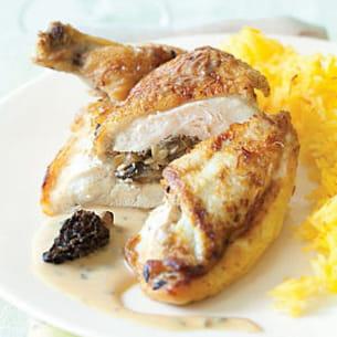 suprêmes de poulet aux champignons et sauce aux morille