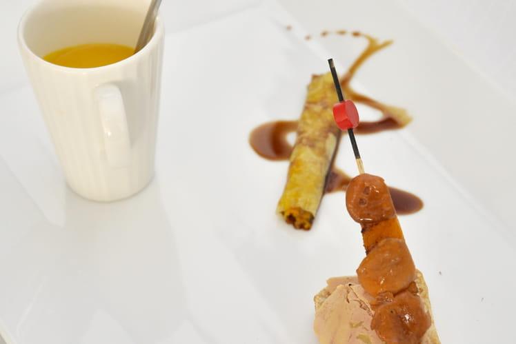 Tartine de foie gras, potimarron et girolles