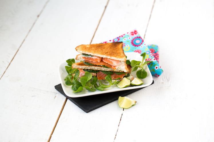 Club-sandwich printanier au fromage frais et à la truite