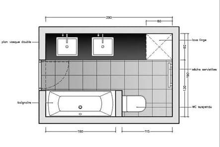avec des wc suspendus 10 plans pour une mini salle de bains journal des femmes. Black Bedroom Furniture Sets. Home Design Ideas