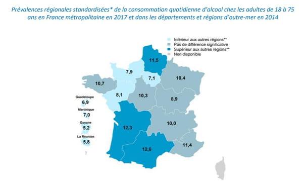 carte région consommation d'alcool France