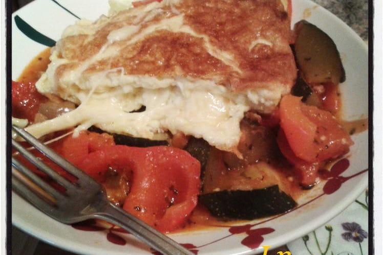 Omelette au fromage à la ratatouille