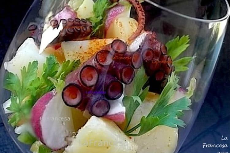 Verrines de salade de poulpe à l'espagnole
