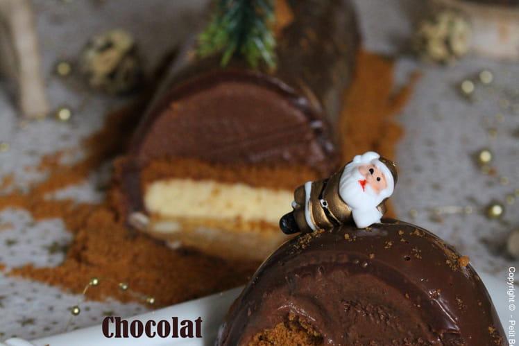 Bûche glacée au chocolat, vanille et Spéculoos
