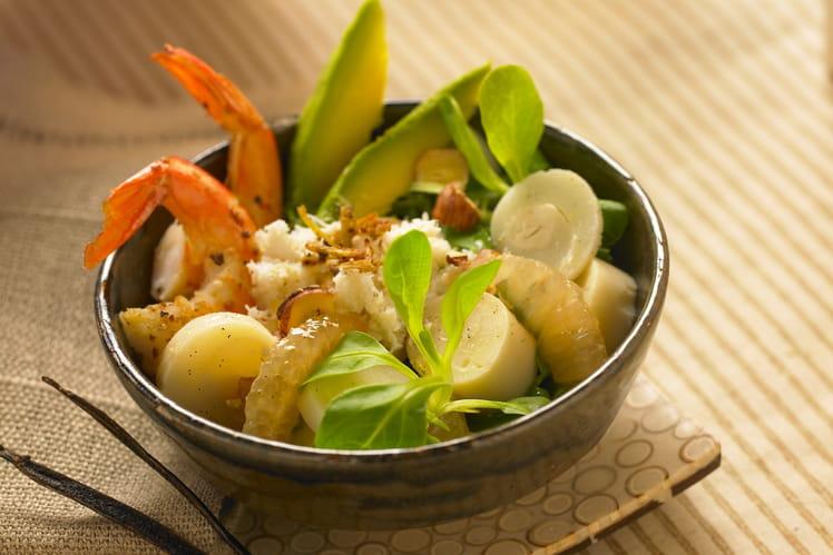 Salade de cœurs de palmiers, vinaigrette vanillée