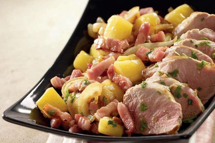 Filet mignon de porc au cidre et dés de lardons