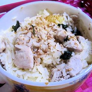 risotto de poulet, chèvre et basilic