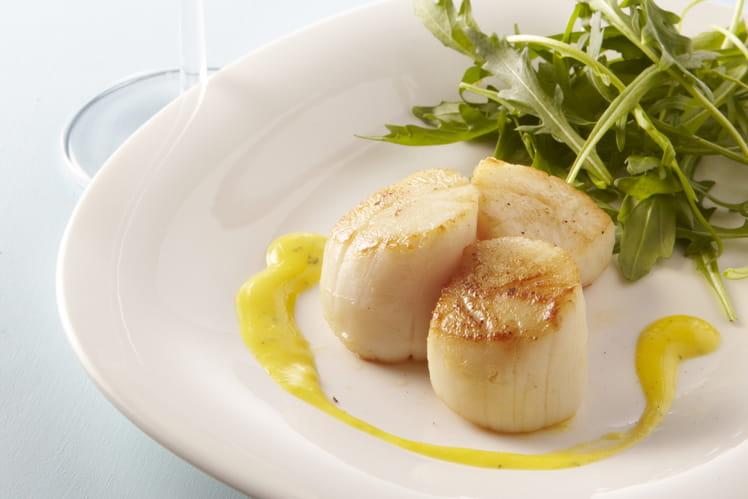 Noix de Saint Jacques poêlées, vinaigrette crémeuse