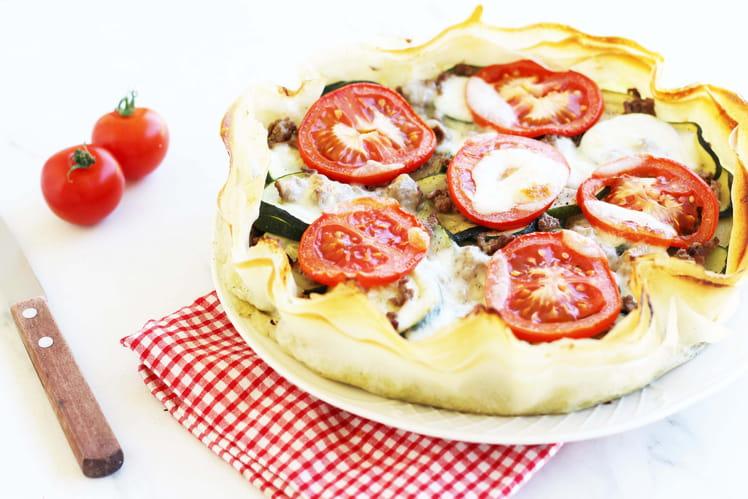 Tarte légère aux courgettes, tomates et boeuf