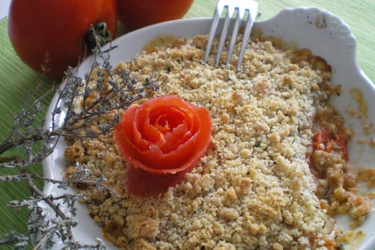 Crumble de tomates, mozzarella et chèvre