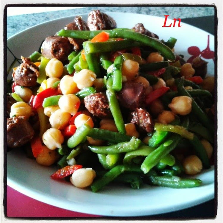 Recette de salade orientale pois chiche merguez - Cuisiner les poivrons verts ...