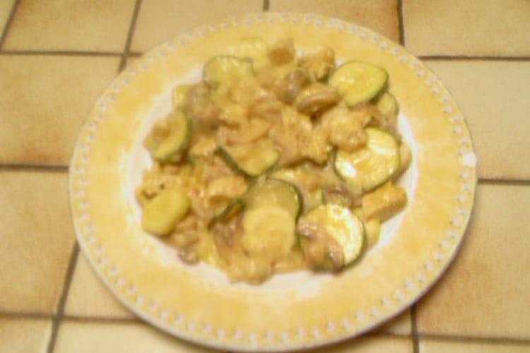Cassolette de courgettes, champignons et escalope