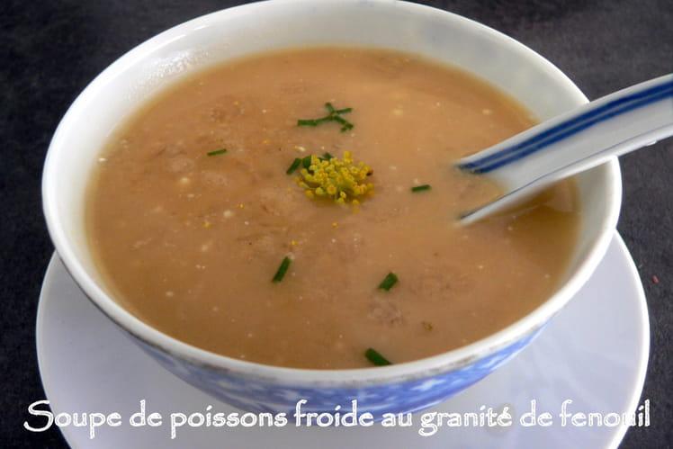 Soupe de poissons froide au granité de fenouil