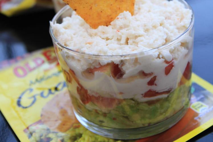 Verrines de guacamole au crabe et tortilla chips