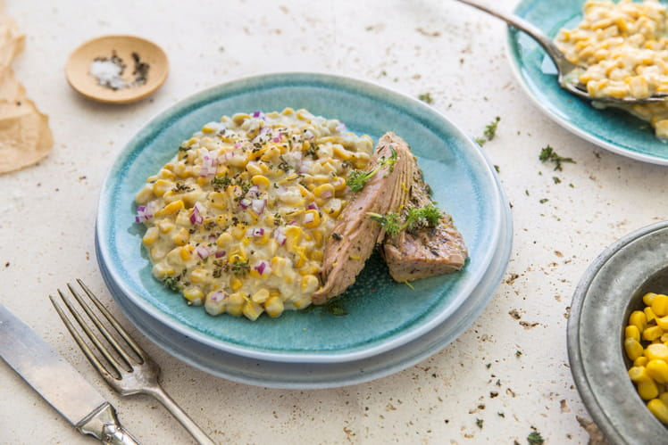 Filet de thon mariné thym et citron, maïs à la crème de pecorino