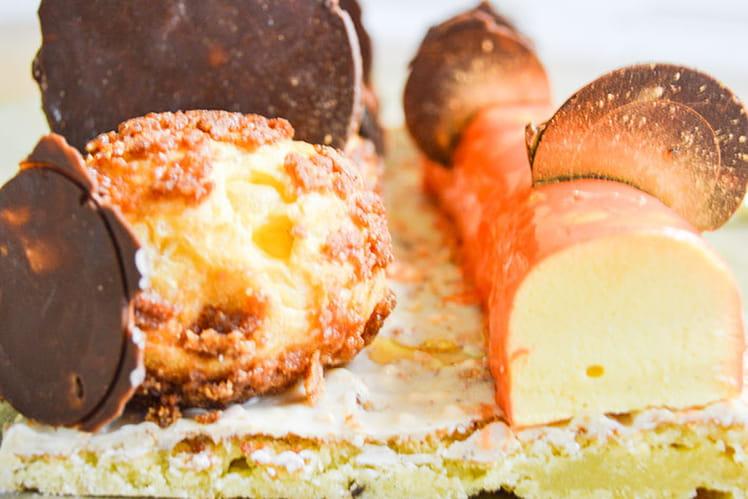 Bûche mangue, passion et vanille façon Saint-Honoré