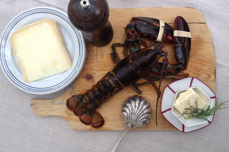 Homard bleu rôti façon thermidor à l'Ossau-Iraty et son risotto au champagne