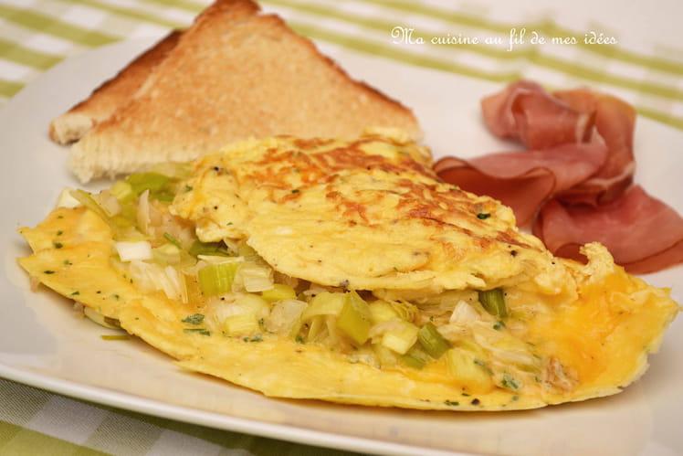 Omelette aux poireaux, échalotes, emmental et cheddar