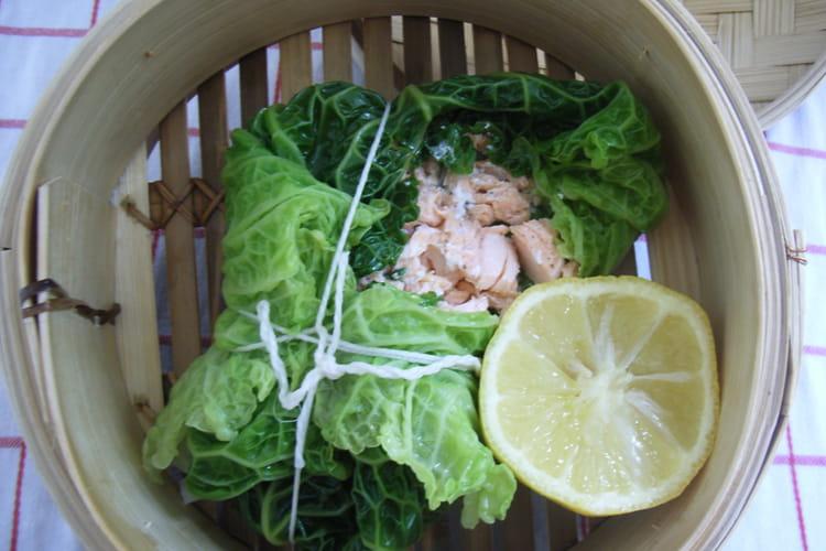 Chou au saumon vapeur