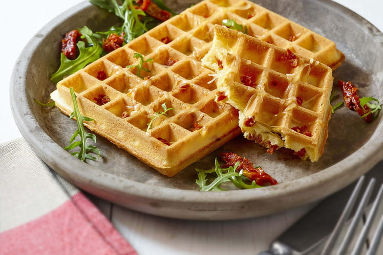 Gaufre fromage-tomates confites