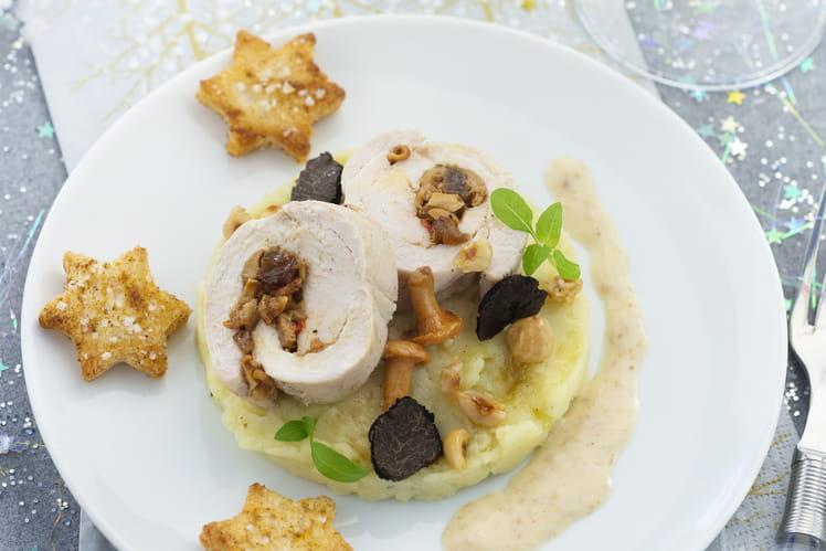Roulade de dinde, champignons et crème champignons aux truffes