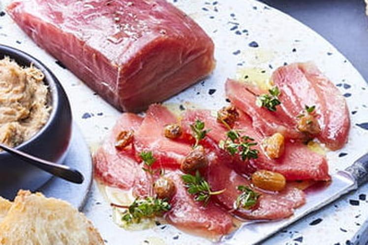 Tapas de veau façon gravlax aux baies de genièvre et cidre Val De Rance