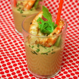 verrines pois chiches et crevettes