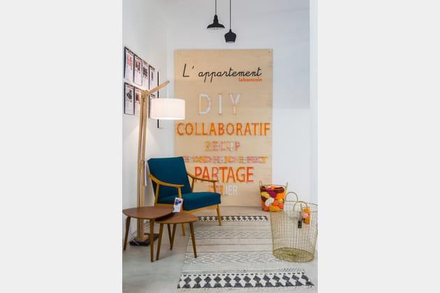 Salon vintage bleu canard