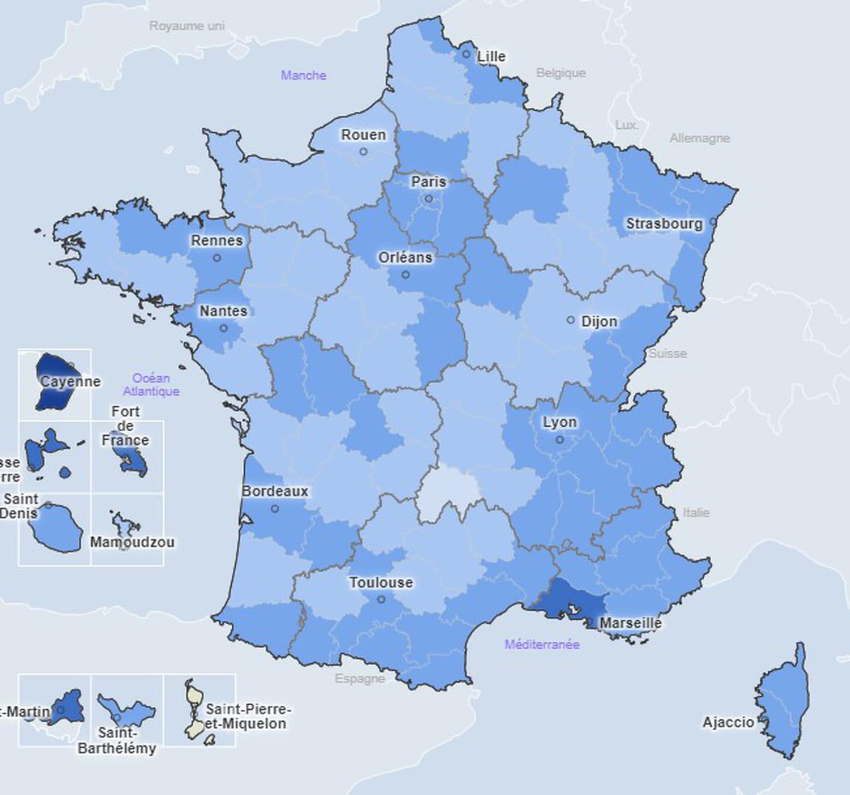 CARTE COVID: incidence par département, en France