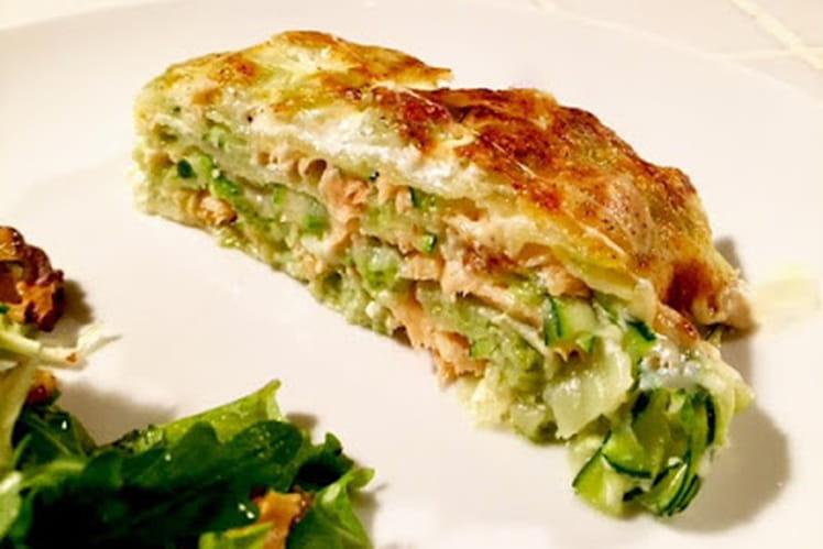 Gratin de ravioles saumon et courgettes
