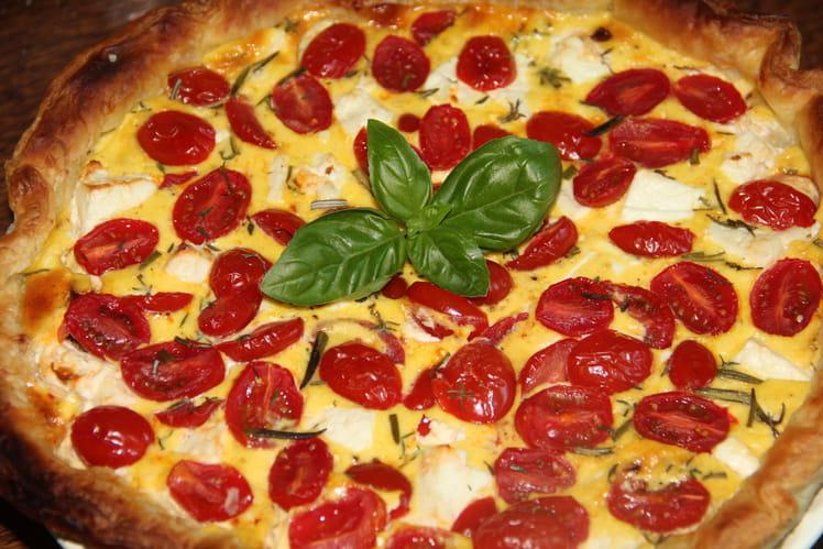 Quiche aux tomates cerise, feta et lardons