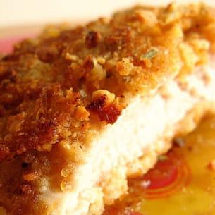 escalopes de poulet panées aux corn flakes et cacahuètes