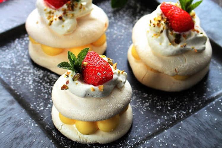 Mini pavlova citron et fraises