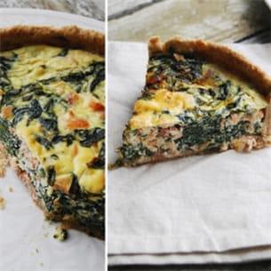 tarte au saumon et aux épinards.