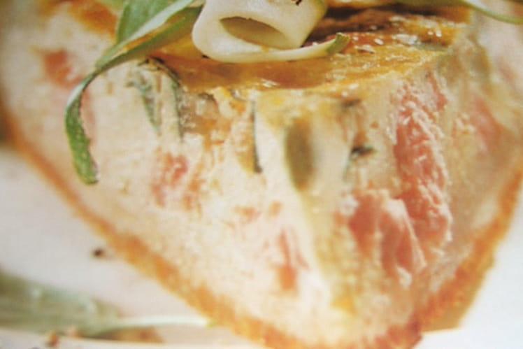 Quiche de courgettes au saumon et au basilic