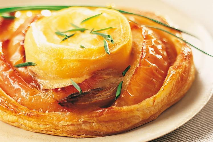 Tartes fines aux pommes, romarin et rocamadour
