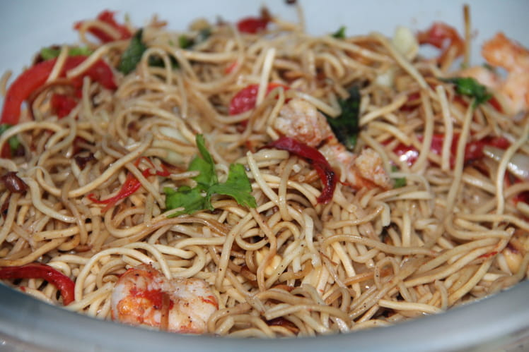 Salade de nouillles chinoises aux crevettes