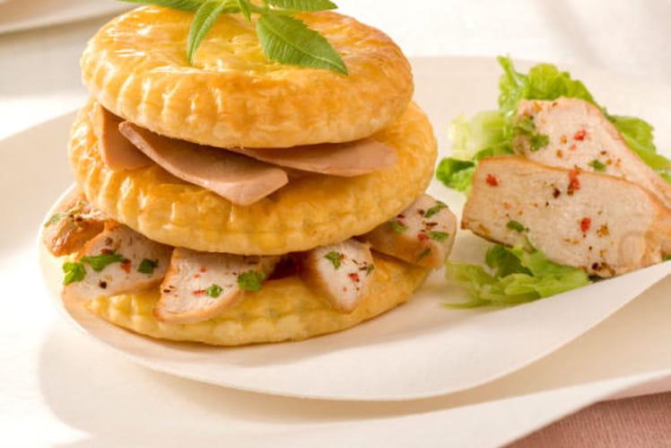 Millefeuille de suprêmes de pintade au Foie gras, embeurrée de chou